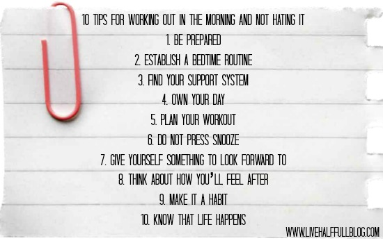 10 tips for morning workouts