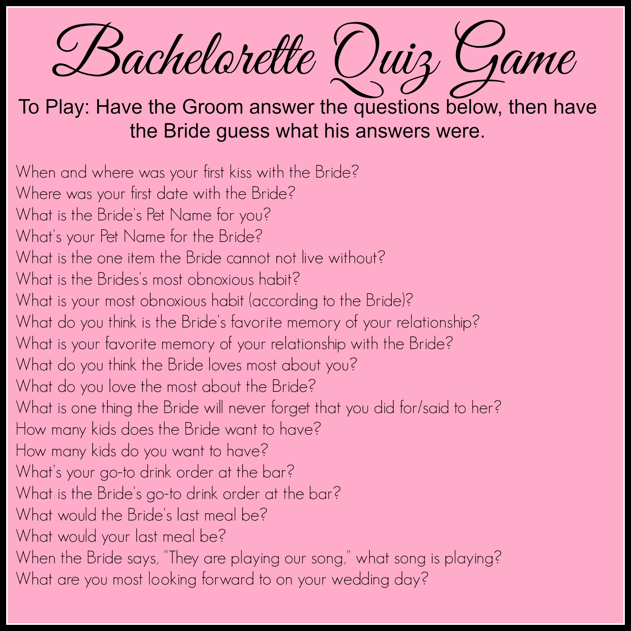 This is a photo of Declarative Printable Bachelorette Games